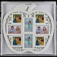 Большая семейная фоторамка в виде яблока на 8 фото