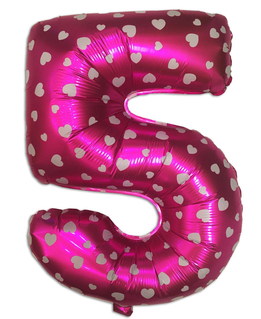 """Фольгированный шар цифра """"5"""" розовый с сердечками, высота 80 см"""