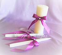 Маленькие банты из атласной ленты для декора свадебных свечей
