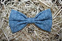 Галстук бабочка ручной работы - Blue Flowered