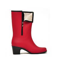 Женские резиновые сапоги Nordman Bellina на каблуке с мехом Красные РАЗМЕР 39