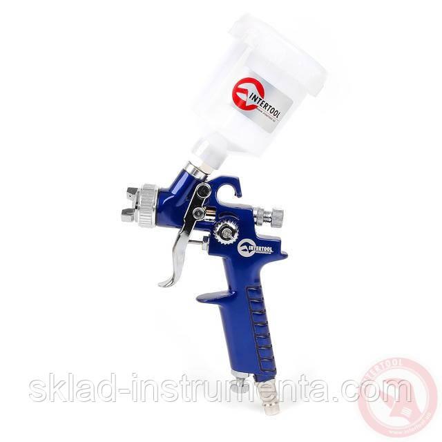 Пистолет покрасочный пневматический HVLP мини , форсунка 0,8 мм, верхняя подача, бачок 125 мл. 3,0 бар