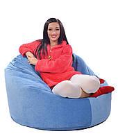 Голубое велюровое большое кресло-мешок