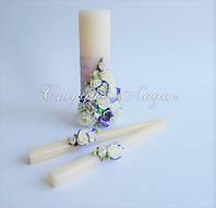 """""""Цветочная фантазия"""", украшение свадебных свечей искусственными эустомами"""
