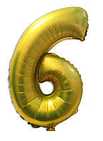 Воздушный шар фольгированный лимонного цвета, цифра 6
