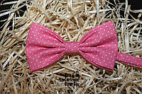 Галстук бабочка ручной работы - Pink Polka Dot