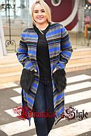 Женское батальное кашемировое демисезонное пальто с меховыми карманами, фото 1