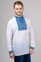 """Вышиванка мужская """"Тарас"""" синяя вышивка, фото 1"""