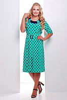 Батальное бирюзовое платье в горошек  Сильвия ТМ Таtiana 54-60  размеры