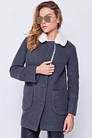 """Утепленное пальто с мехом """"Грейс"""" серое"""