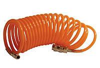 Intertool PT-1702 Шланг оранжевый спиральный с быстроразъемным соединением 15 м