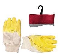 """Intertool SP-0002W Перчатки стекольщика тканевые покрытые рифленым латексом (желтые) 10,5"""""""