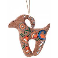 Авторские игрушка ручной работы Коза с павлином, ручная роспись, наполнитель гречневая шелуха