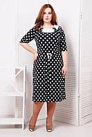 Батальное черное  платье в горошек  Сильвия ТМ Таtiana 54-60  размеры