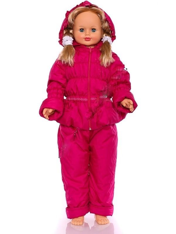 """Детский демисезонный костюм куртка и полукомбинезон """"Ноль-резинка"""" для девочки (малиновый)"""