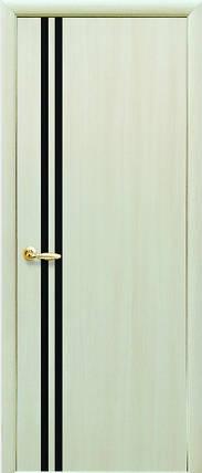 Модель Вита ЭКОШПОН с черным стеклом межкомнатные двери, Николаев, фото 2