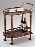 Сервировочный столик на колесиках W-17 (SC-5512), сервировочная тележка деревянная на колесиках