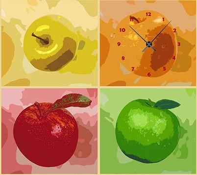 "Модульная картина-часы (160х45 см) ""Яблоки"""