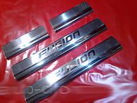 Ford Fusion 2002+ гг. Накладки на пороги Carmos (4 шт., нерж.)