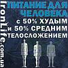 Питание для человека с 50% худым и 50% средним телосложением