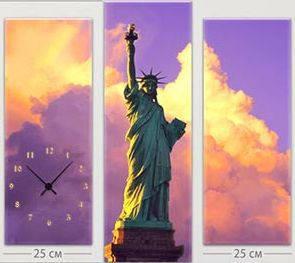 """Модульная картина-часы (75х75 см) """"Статуя Свободы"""""""