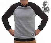 Зимний мужской свитшот с футером Ястребь серо-черный (очень теплый)