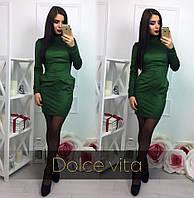 Женское модное зеленое замшевое платье с карманами