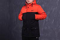 Мужская весенняя демисезонная парка (куртка) Nike, чёрно-оранжевая