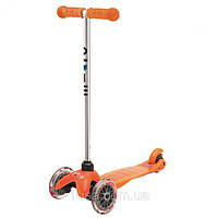 Самокат с прозрачными колесами Mini Micro orange (Мини Микро неон оранж), фото 1