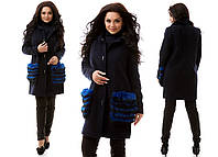 Синее батальное кашемировое пальто со съемным натуральным мехом  на карманах ,цвета электрик. Арт-9836/47