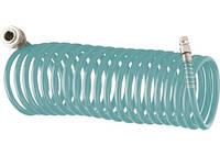 Полиуретановый спиральный шланг профессиональный BASF, 15 м, с быстросъемными соединением Stels