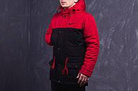 Мужская весенняя демисезонная парка (куртка) Nike, чёрно-красная