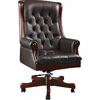 Кресло для руководителя Линкольн, кожа черная (671-B+PVC)