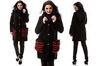 Черное батальное кашемировое пальто со съемным натуральным красным  мехом  на карманах. Арт-9836/47