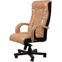 Кресло для руководителя Кардинал MB Темный орех Мадрас Голд Беж
