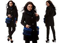 Черное  батальное кашемировое пальто со съемным натуральным  мехом  на карманах, цвета электрик. Арт-9836/47
