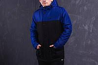 Мужская весенняя демисезонная парка (куртка) Nike, чёрно-синяя
