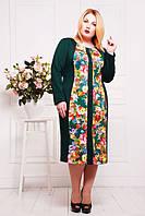 Батальное зеленое  платье с принтом  Нана ТМ Таtiana 54-60  размеры