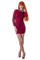 Облегающее платье с длинным рукавом бордового  цвета