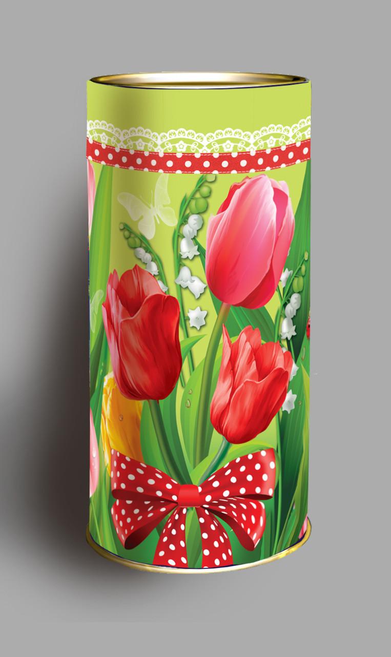 """Подарочная коробка тубус """"Тюльпаны"""" 98*270 - Фабрика """"Світ дарунків"""" в Днепре"""