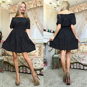 Платье в горошек с открытыми плечами , фото 2