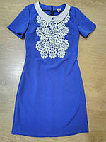 Платье с кружевом-макраме и воротничком