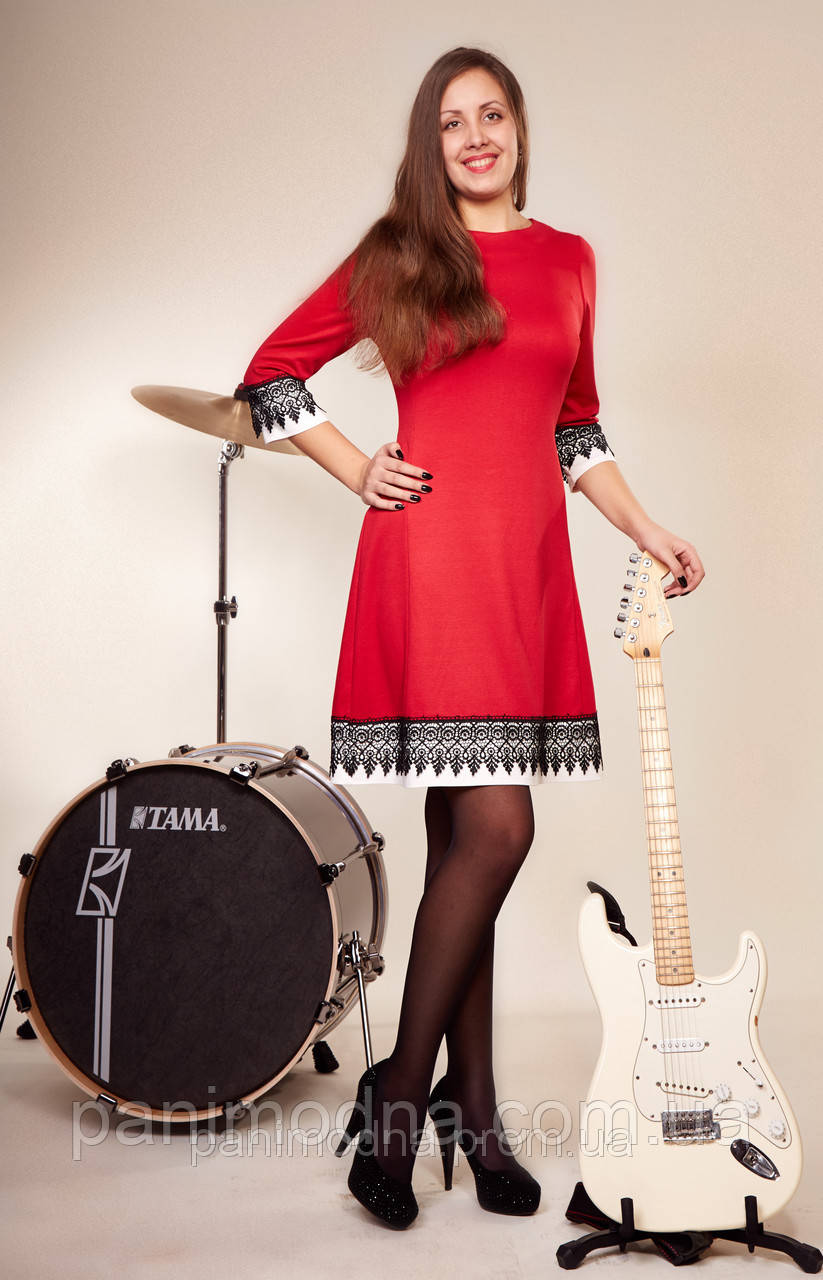 Красное платье женское  стильное с шитьем - от производителя. Опт - 160 грн.