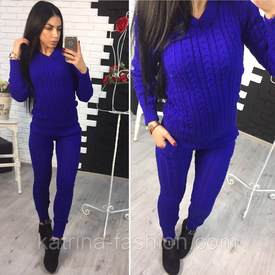 Женский модный вязаный костюм: свитер и брюки (3 цвета)