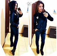 Женский красивый спортивный костюм бархат: кофта с капюшоном и брюки (3 цвета)
