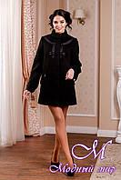 Женское кашемировое черное пальто большого размера (р. 44-54) арт. 974 Тон 21