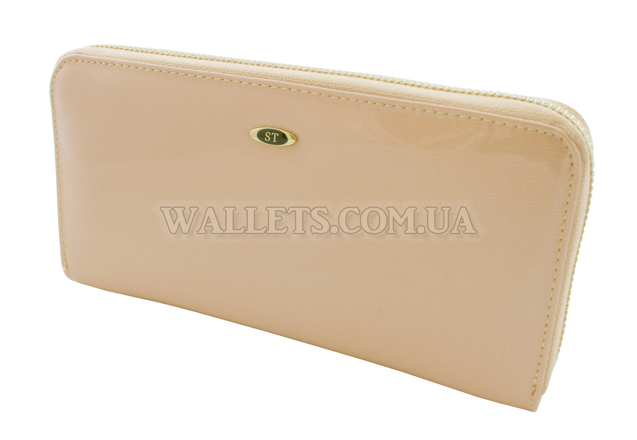 Женский большой кожаный кошелек ST Leather Accessories на молнии, 20x10 см, пудра лак.