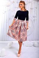 Женский Костюм юбка в цветах и блуза