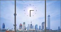 """Модульная картина-часы (80х45 см) """"Городской воздух"""""""