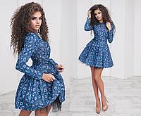 Шикарное и очень красивое платье джинс в цветочный принт пышное